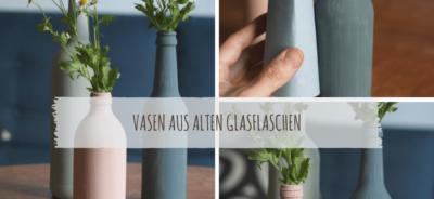 Vasen aus alten Glasflaschen-min