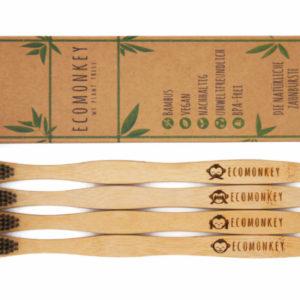 Vegane Bambus Zahnbürste Erwachsene 4er Pack