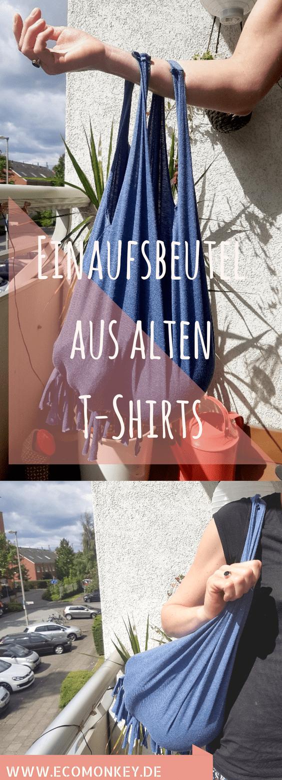 Do It Yourself DIY Tutorial Upcycling Einkaufsbeutel aus alten T-Shirts