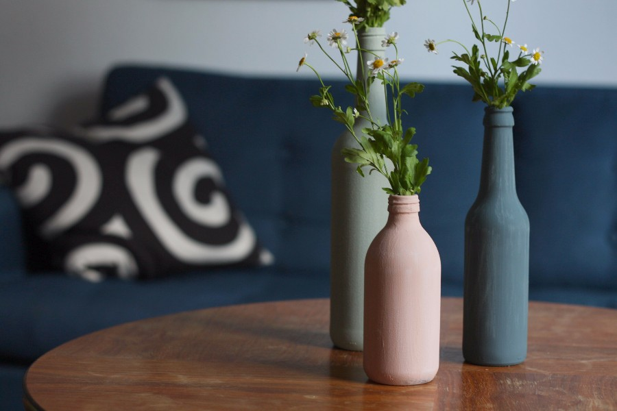 Upcycling Vasen aus alten Glasflaschen